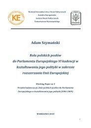Rola polskich posłów do Parlamentu Europejskiego VI kadencji w ...