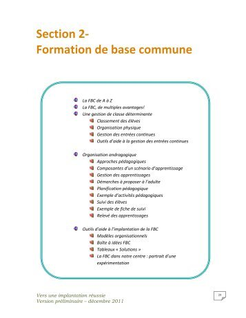 Section 2- Formation de base commune