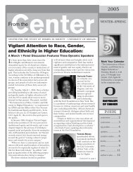 Winter-Spring 2005 - Center for the Study of Women in Society ...