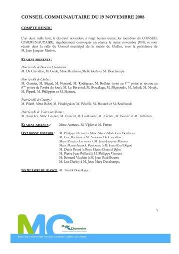 conseil communautaire du 19 novembre 2008 - Brou Sur Chantereine