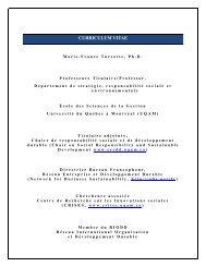 CV - Chaire de responsabilité sociale et de développement durable