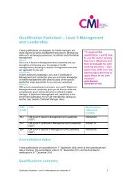 Qualification Factsheet – Level 5 Management and Leadership