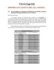 important safety recall notice - Coast Wholesale Appliances