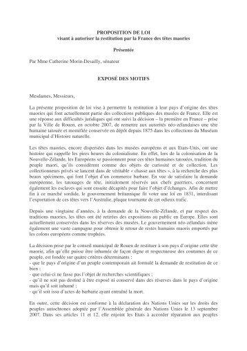 PROPOSITION DE LOI visant à autoriser la restitution par la France ...
