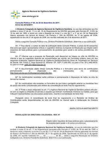 Consulta Pública nº 64, de 20 de dezembro de 2011 - Anvisa