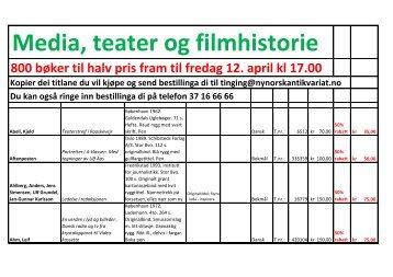 Media, teater og filmhistorie - Nynorsk antikvariat