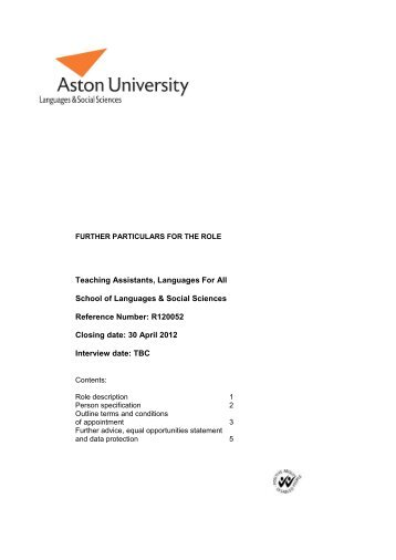 Teaching Assistants, Languages For All School of ... - Jobs at Aston