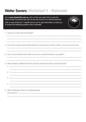 Water Savers: Worksheet 5 – Rainwater - Savewater.com.au