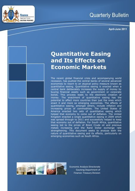 Quarterly Bulletin April - June 2011 - Gauteng Provincial Treasury