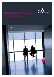 CMI Health Sector Programme - Chartered Management Institute