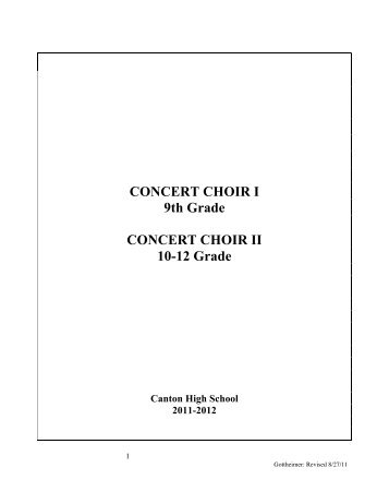 Syllabus Concert Choir I and II - The Canton, CT K-12 Music ...