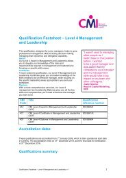 Qualification Factsheet – Level 4 Management and Leadership