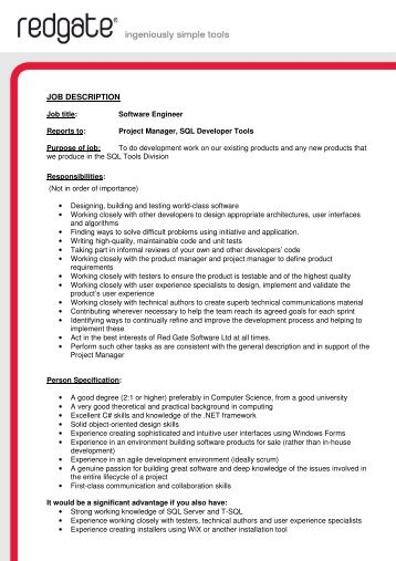 Software Engineer Job Description Assistant Software Engineer Job