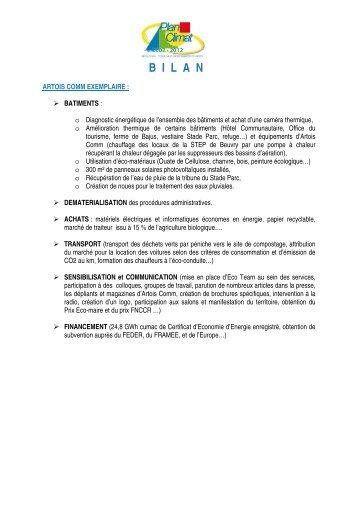 Synthese Bilan PCT 2008-2012.pdf - Le plan climat - Artois Comm.