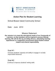BICS Action Plan for Student Learning 2010 - the School District