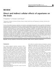 Direct and indirect cellular effects of aspartame on the brain