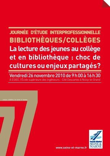 BiBliothèques / Collèges La lecture des jeunes au collège et en ...