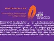 Health Disparities in SLE - The Lupus Initiative