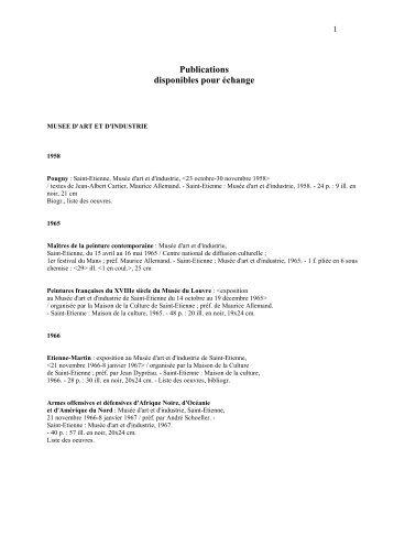 Publications disponibles depuis 1958 - Musée d'art moderne de ...