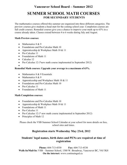 math courses - all (2) pdf - sct-handouts