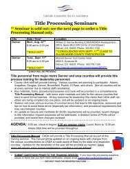 Title Processing Seminars ** Seminar is sold out - Cadaonline.org