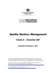 Quality/Business Management - Current Standards Activities