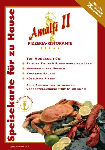Speisekarte für zu Hause - Pizzeria Amalfi II