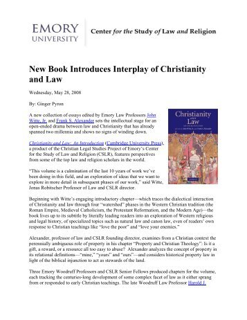 New Book Introduces Interplay of Christianity and Law