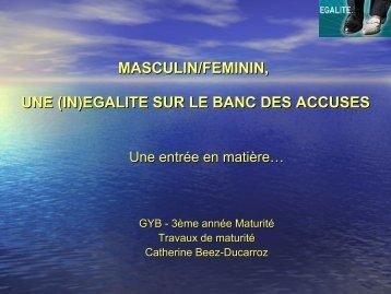 MASCULIN/FEMININ, UNE (IN)EGALITE SUR LE BANC DES ...