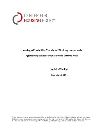Housing Affordability Trends for Working Households: - National ...