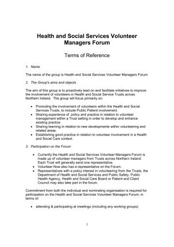Health and Social Services Volunteer Managers ... - Volunteer Now