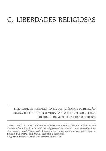 G. LIBERDADES RELIGIOSAS - Faculdade de Direito