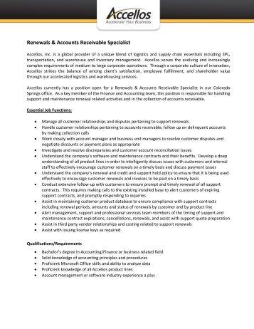 Renewals & Accounts Receivable Specialist - Accellos