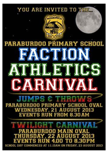 Faction Athletics Carnival 2013 community program - Paraburdoo ...