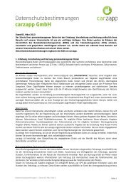 Datenschutzbestimmungen carzapp GmbH