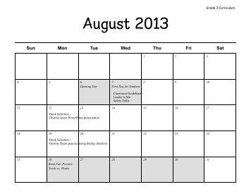 2013 School Calendar Curriculum Map Grade 3