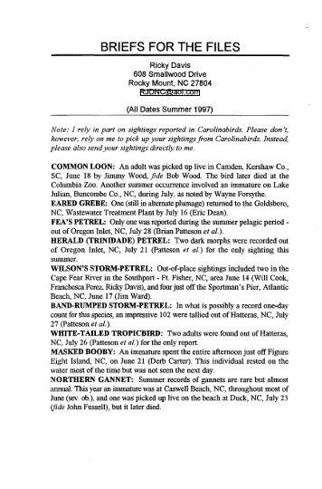 Summer 1997 - The Carolina Bird Club