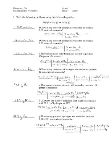 stoichiometry worksheet answers - Stoichiometry Worksheet