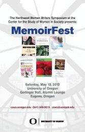 MemoirFest Program - Center for the Study of Women in Society ...