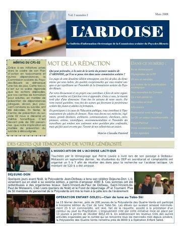 L'Ardoise - Vol. 1-2 - Commission scolaire Pays des Bleuets