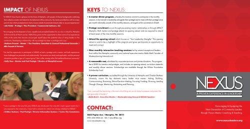 Impact OF NEXUS contact: KeyS TO NEXUS: - nexus leaders
