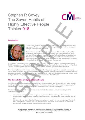 Stephen R Covey The Seven Habits of Highly Effective People ...