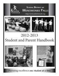 2012-2013 Student and Parent Handbook - Menomonee Falls ...