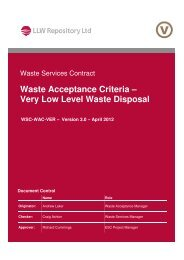 Waste Acceptance Criteria – Very Low Level Waste Disposal