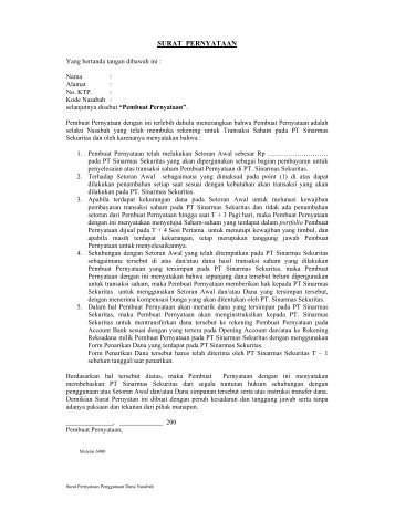 Surat Pernyataan Nasabah AR - Sinarmas Sekuritas, PT.