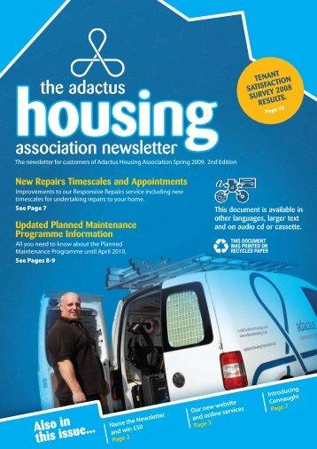 association newsletter the adactus - Adactus Housing Group Ltd