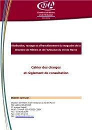 Cahier des charges - Reglement de consultation - Chambre de ...