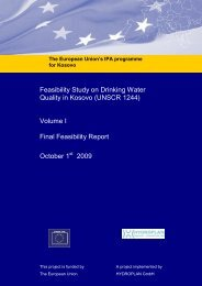 feasibility study on drinking water quality in kosovo - Westmoreland ...