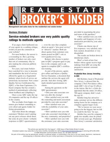 using quality-certification programs - Broker's Insider