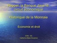 la Banque dans le circuit économique Historique de la Monnaie